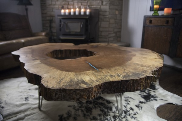 Fort Griffin Pecan disc coffee table
